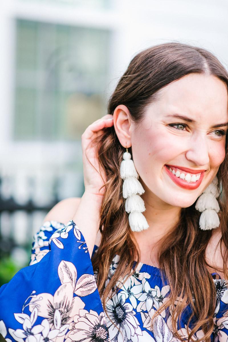 Misa white tassel earrings