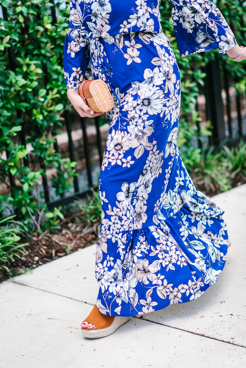 Blue floral eliza j maxi dress