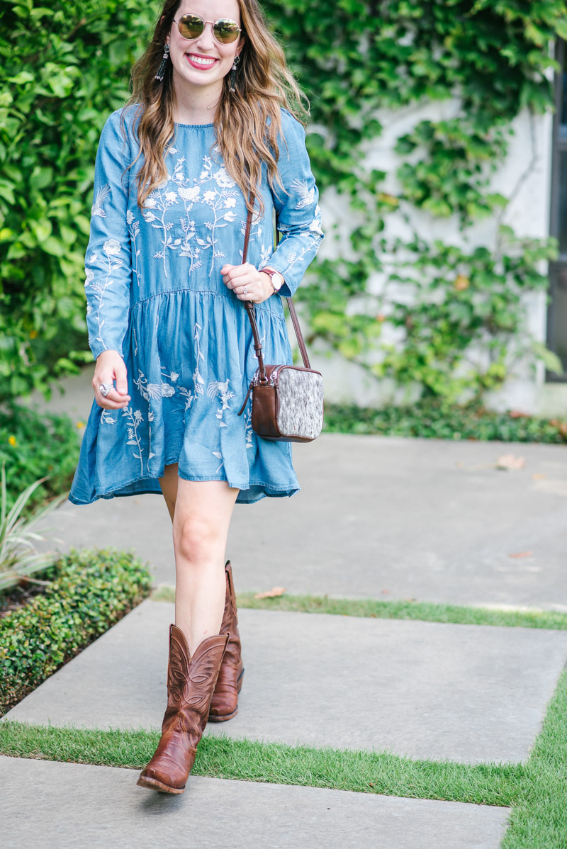 Blue and white embroidered chicwish dress with brown lucchese cowboy boots.