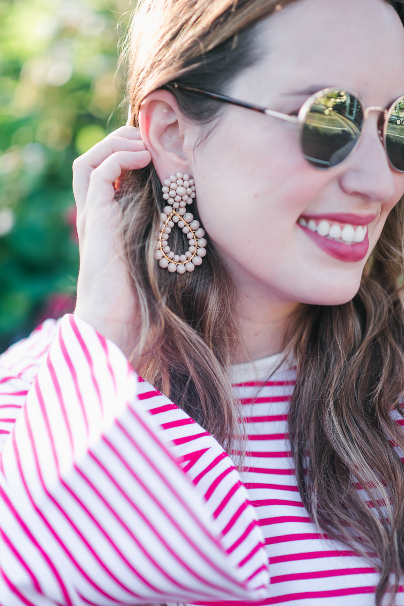 Fashion blogger Alice Kerley styles Lisi Lerch earrings in taupe.