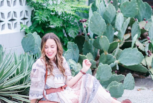 Texas blogger styles Anthropologie's Toronto Dress, a red, white & blue boho maxi dress.