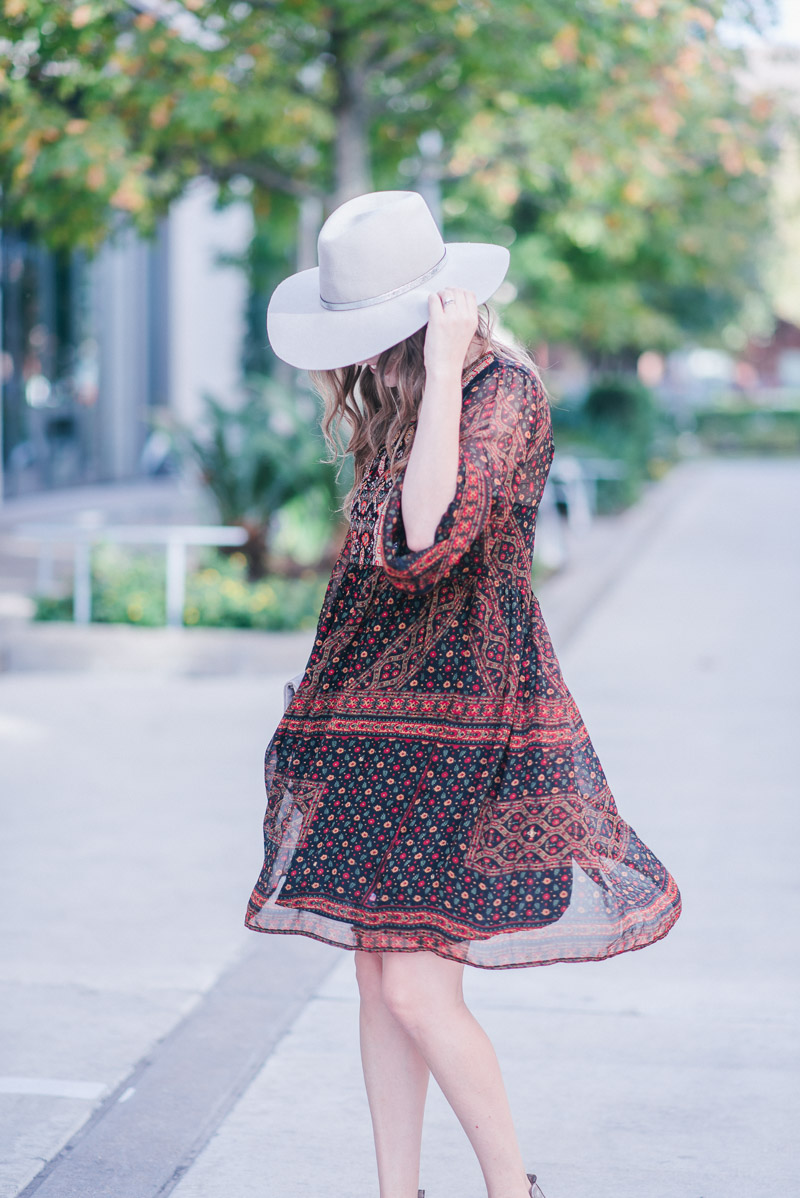 Anthropologie Fall Dress - Monroe Embroidered Tunic Dress with a Hammitt clutch and gray Hat Attack hat.
