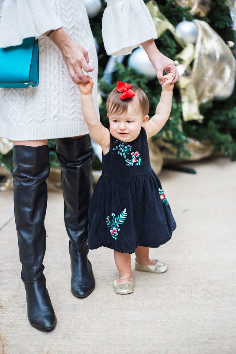 Baby Girl Holiday Dresses, Carter's Black Floral Embroidered Dress with Baby Gold Cat Mary Janes