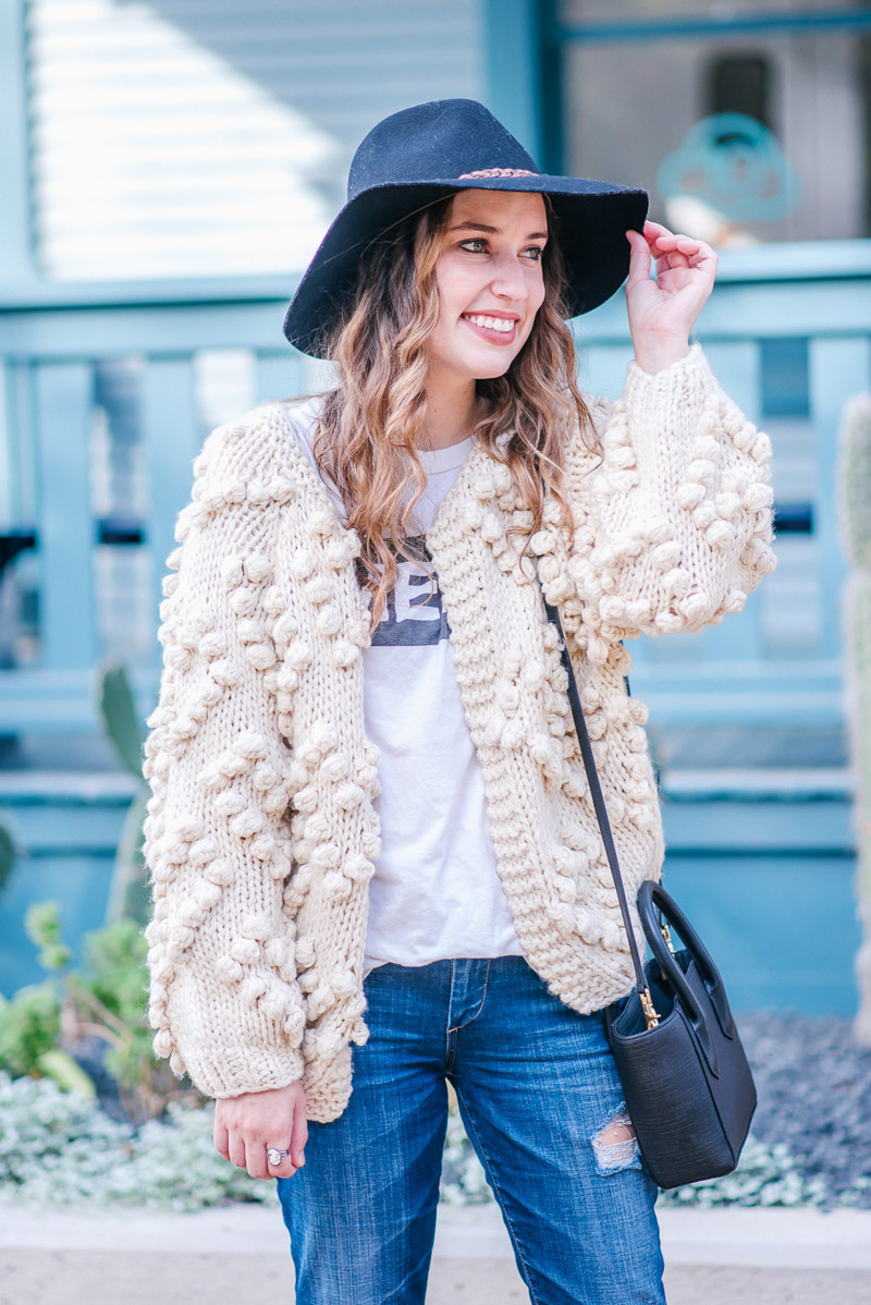 Chic Wish Knit Your Love Cardigan in Cream - Texas Fall Outfit