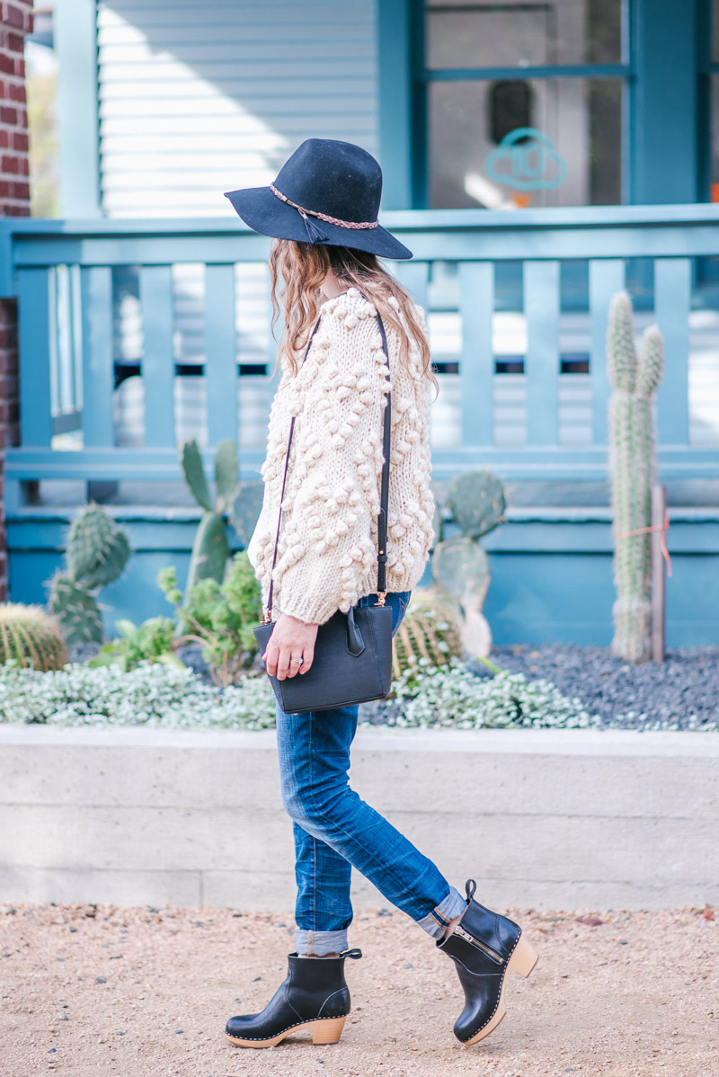 Chic Wish Knit Your Love Cardigan in Cream - Texas Fall Outfit with Black Swedish Hasbeen Booties