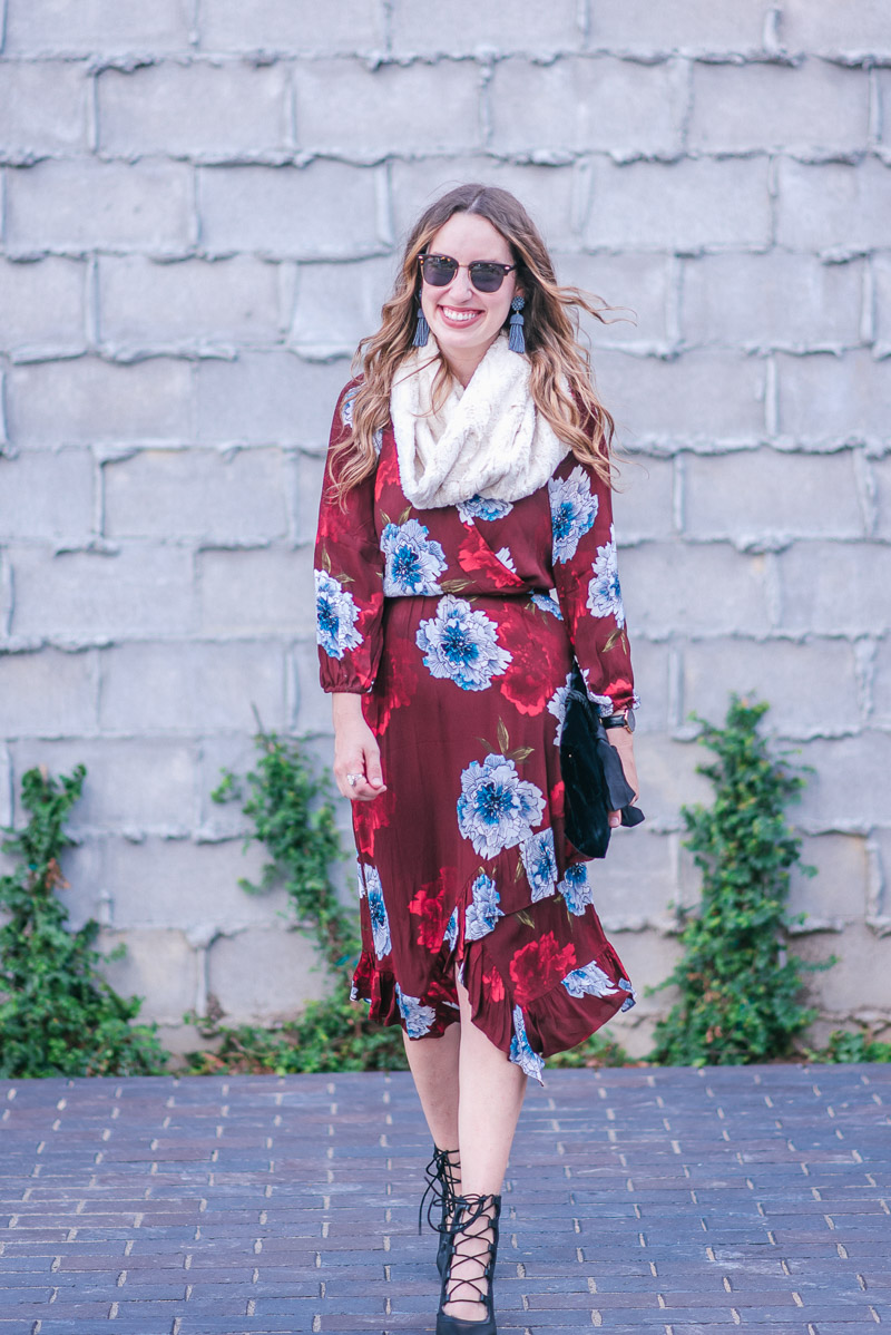 Tracy Reese Aleah Dress in Maroon Floral with Seychelles Lace Up Heels
