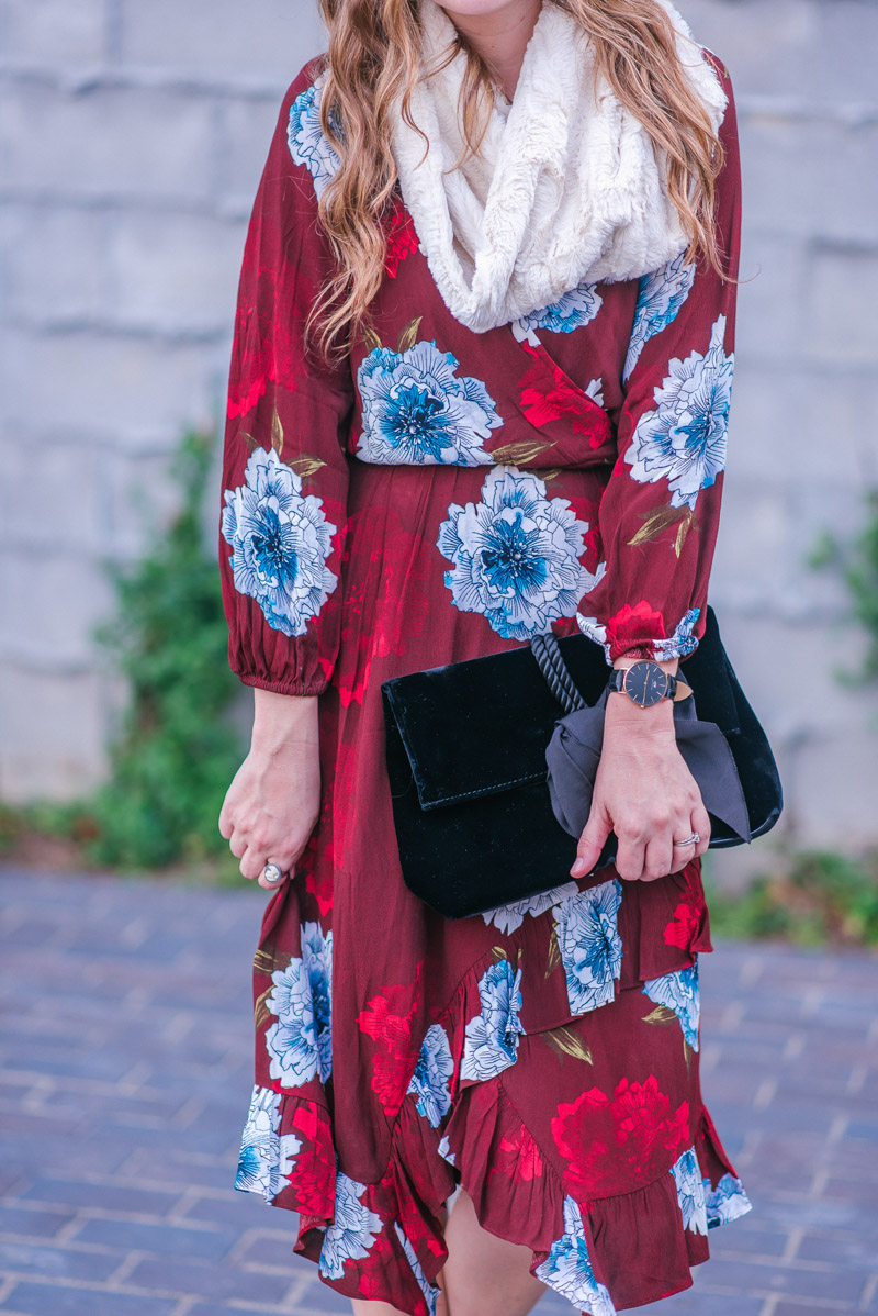 Tracy Reese Aleah Dress in Maroon Floral with a velvet bow clutch