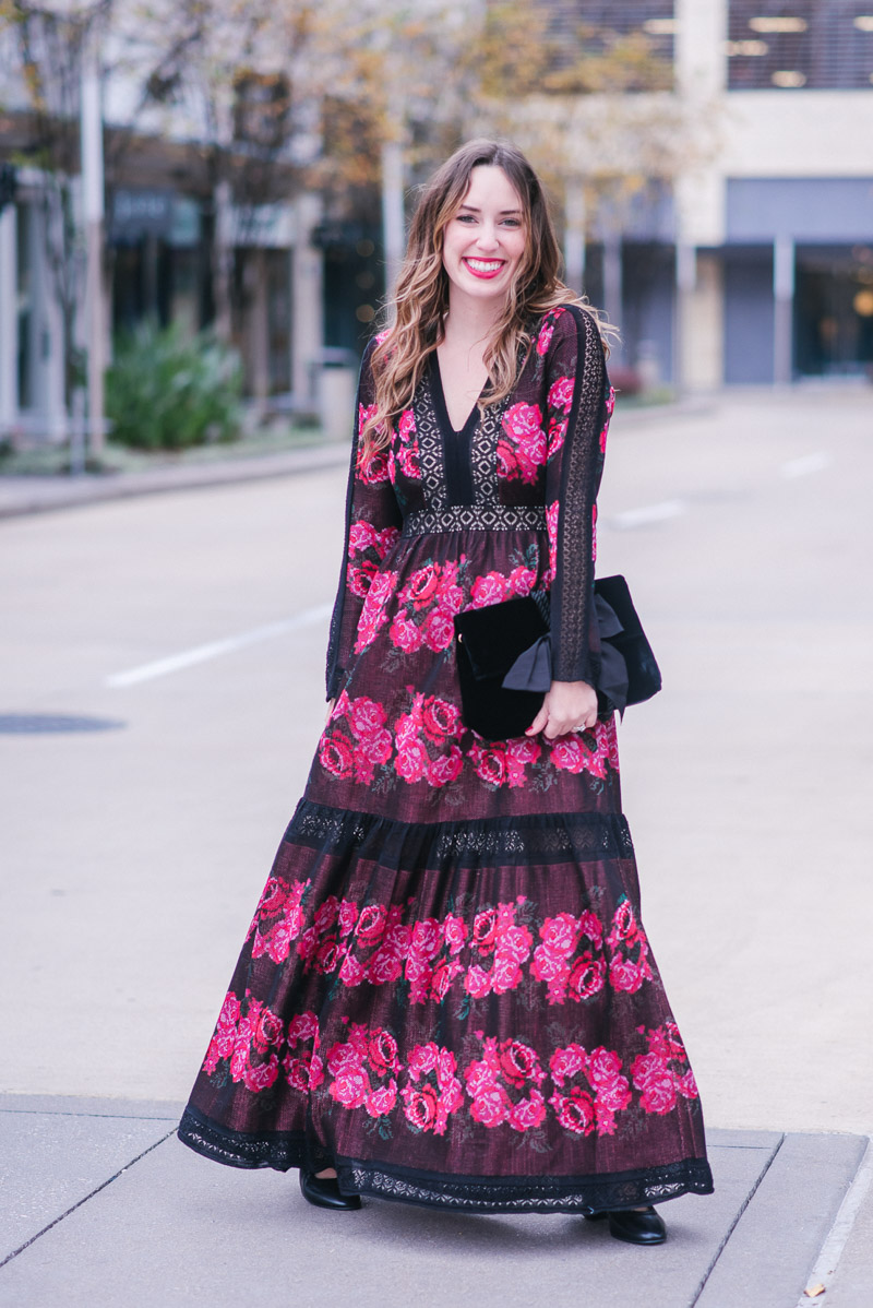 Houston Blogger Alice Kerley styles Cecilia Prado's Rose Sweater Maxi Dress from Anthropologie