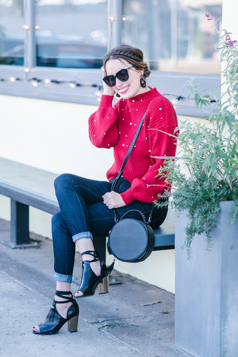 Casual Holiday Outfit Ideas: Red Pearl Bishop Sleeve Sweater, Mott & Bow Jeans, BC Footwear Booties & a crownbraid updo.