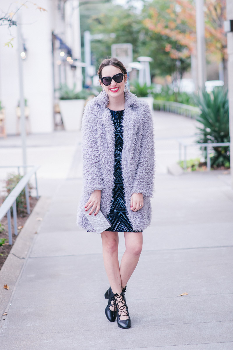 Gray Fuzzy Poodle Coat with Navy Sequin Eliza J Sheath Dress