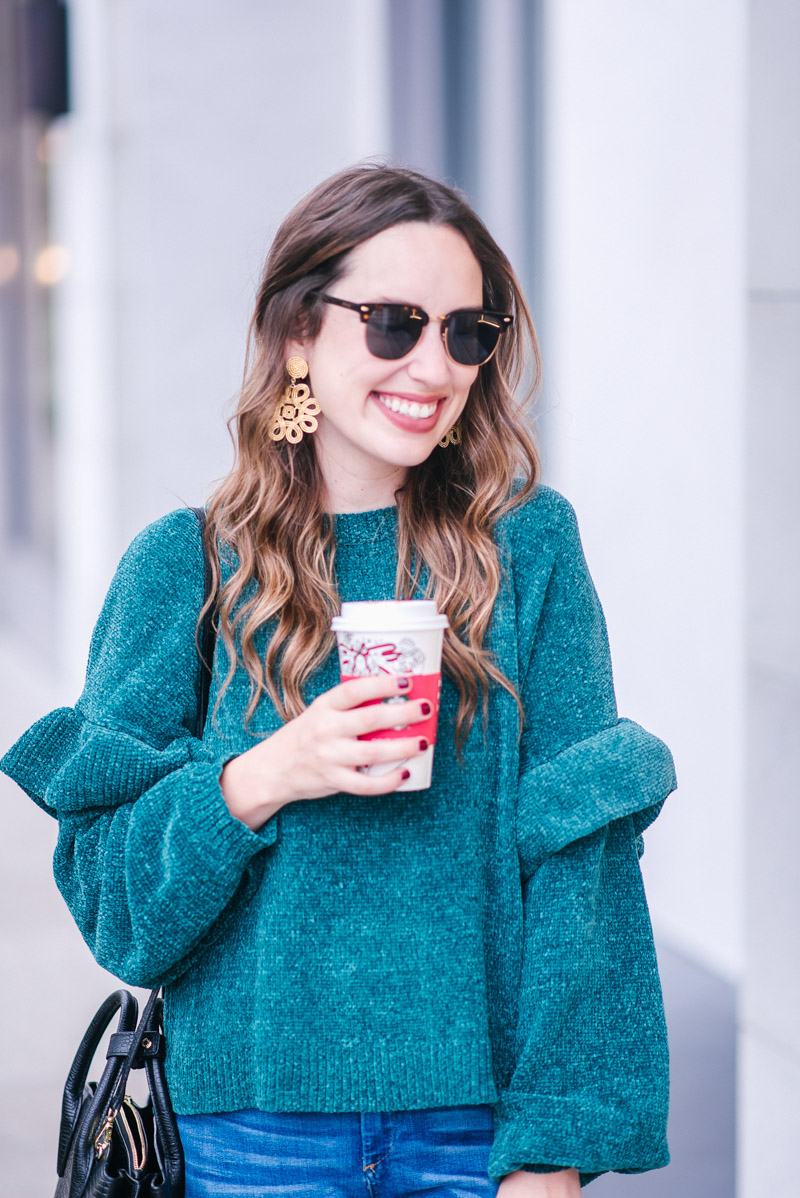 BP Teal Ruffle Sleeve Chenille Sweater with Lisi Lerch Cameron Earrings