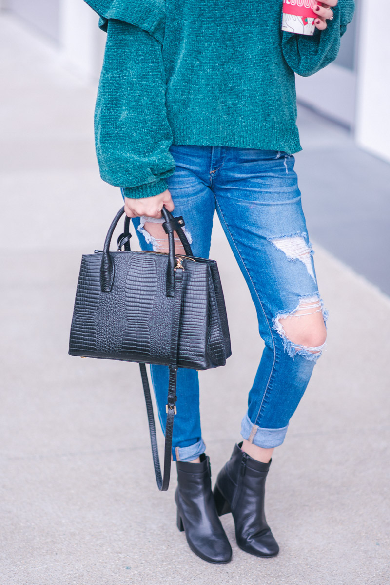 BP Teal Chenille Ruffle Sleeve Nordstrom Sweater with Distressed True Religion Jeans and a black Henri Bendel Satchal - Fall Outfit Ideas