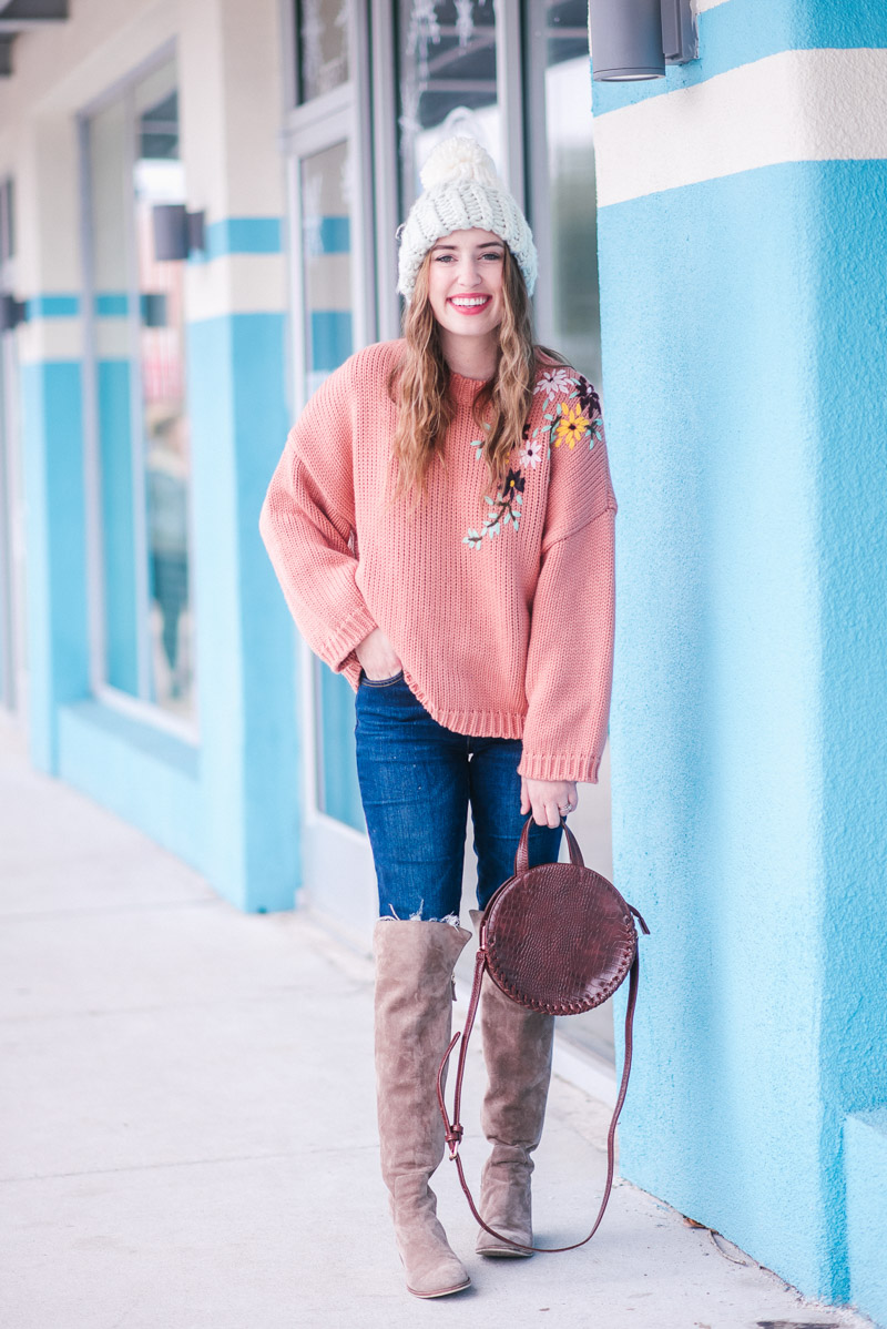 Winter Outfit Ideas - Peach Embroidered Chicwish Sweater and Over the Knee Boots