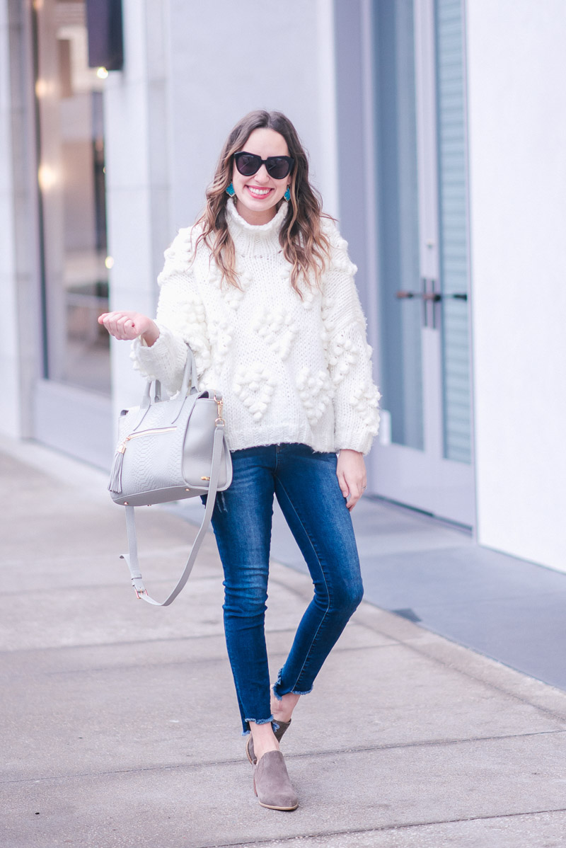 Easy Winter Outfit Ideas: Chicwish White Pom Pom Pullover Sweater