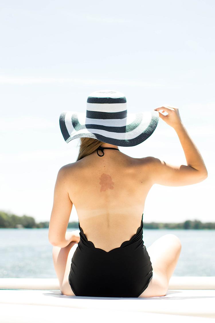 scallop one piece, scallop swim suit, striped sun hat, marysia swim, marysia swim dupe, marysia swim one piece
