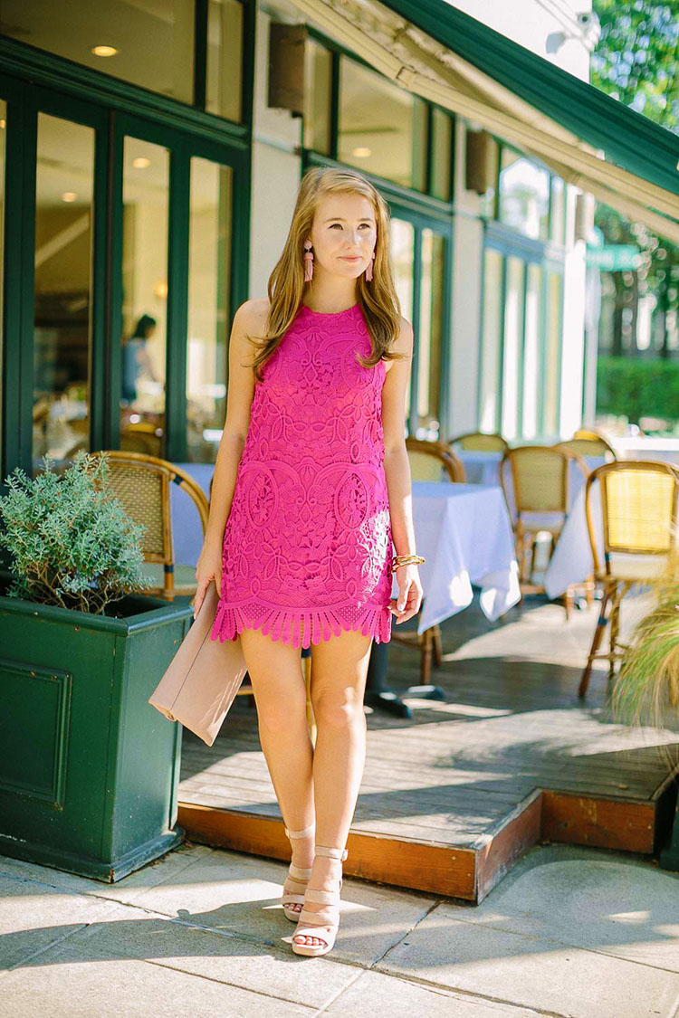 scalloped pink dress, pink earrings, strappy heels, pink earrings, pink tassel earrings
