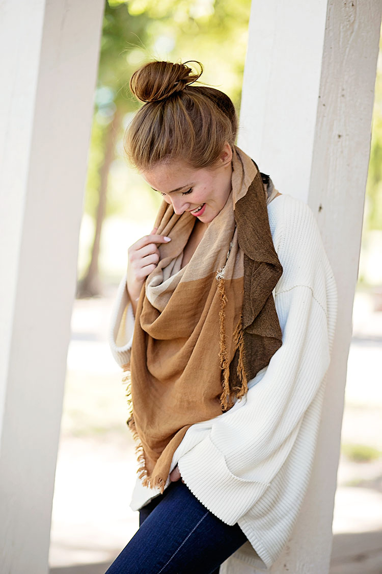brown check blanket scarf