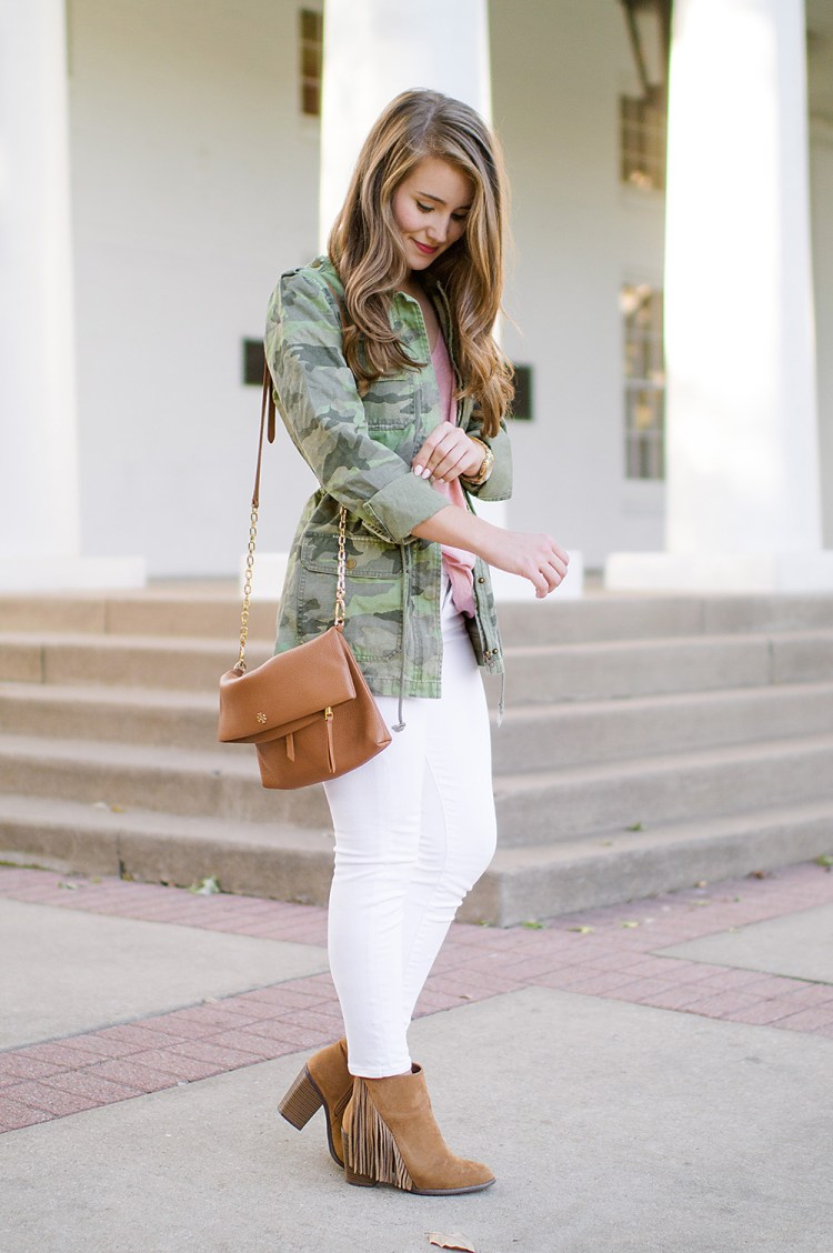camo utility jacket, tory burch crossbody