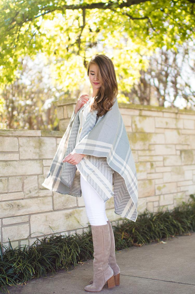 grey plaid cape, grey plaid poncho, grey plaid wrap