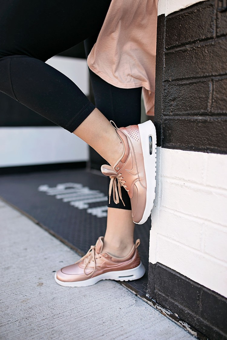 metallic nike sneakers, rose gold sneakers, rose gold nike sneakers