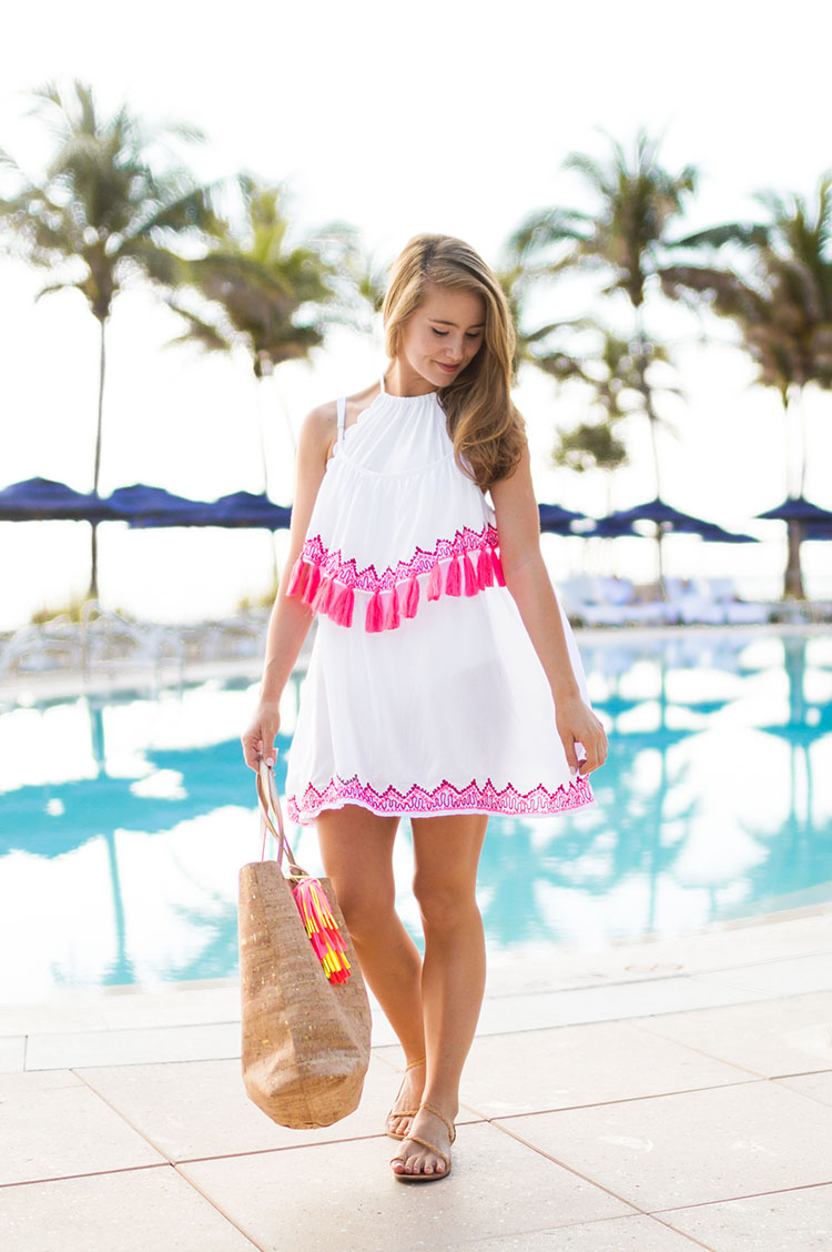 pink tassel coverup