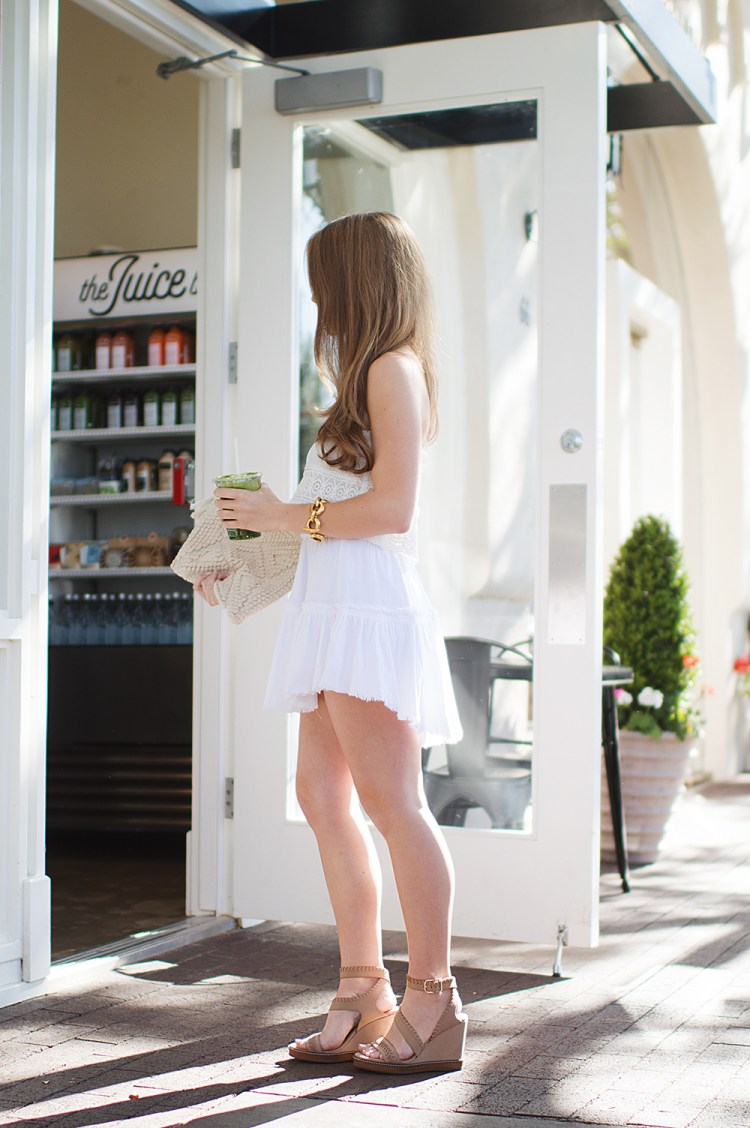 white mini skirt