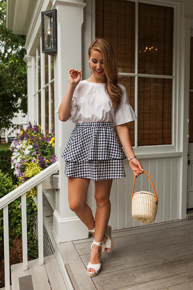 navy gingham skirt, madewell skirt