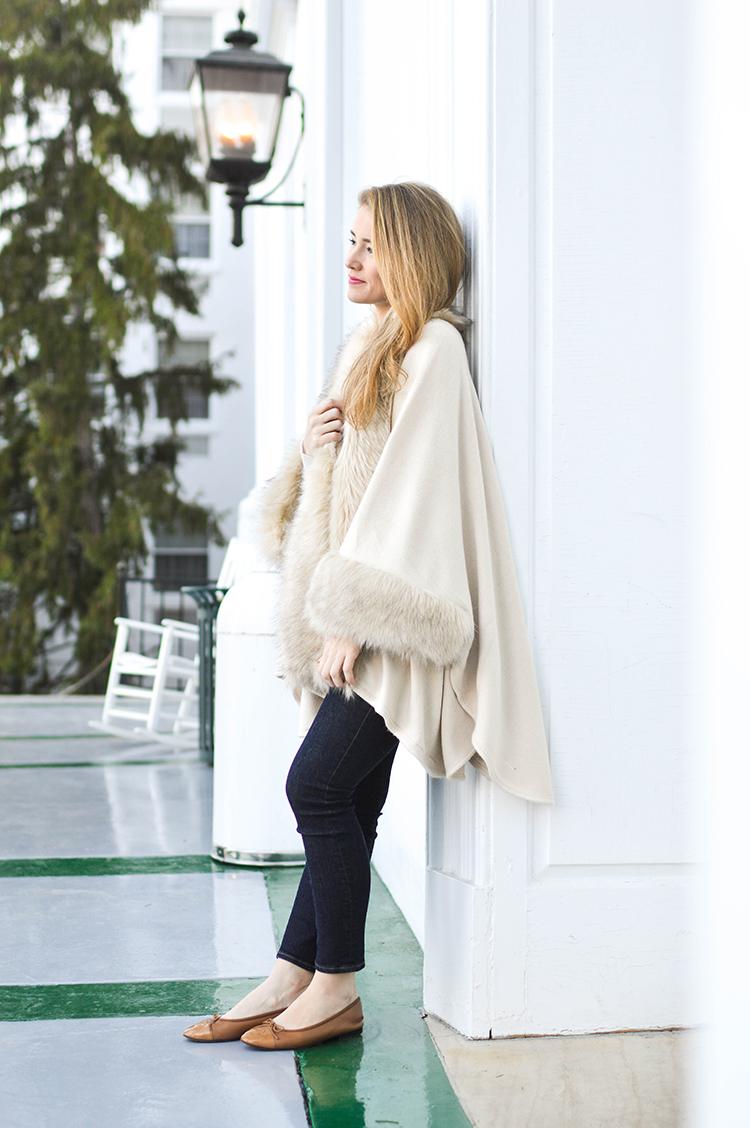 white faux fur cape