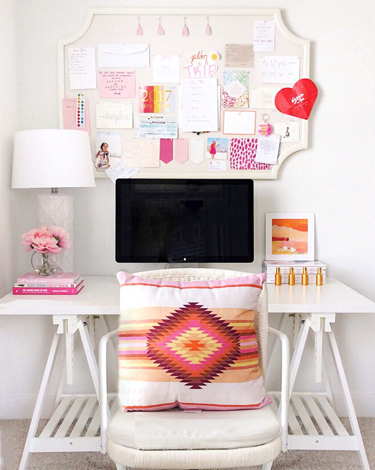 Small Desk | Large Desk | Desk Chairs (sold Out IKEA, Similar Here) | Desk  Pillows | Cowhide Rug (similar Linked) | Bulletin Board | Pink Lamp | White  Lamp ...