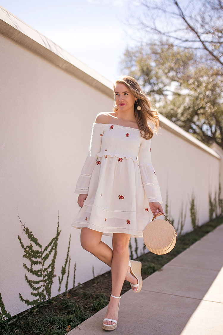 embroidered off the shoulder free people dress