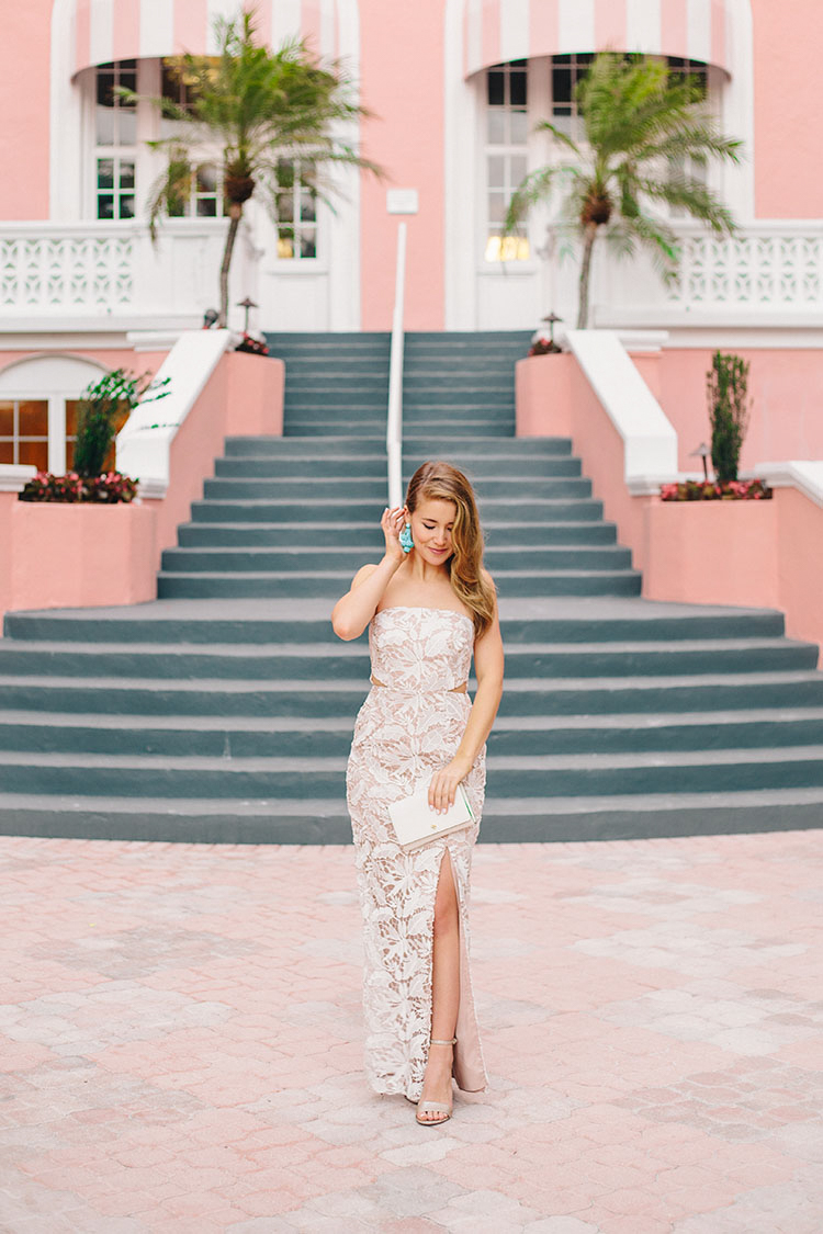 prom dress inspiration, bloomingdale's prom dress, prom dress, white lace evening gown, turquoise earrings, aidan mattox gown