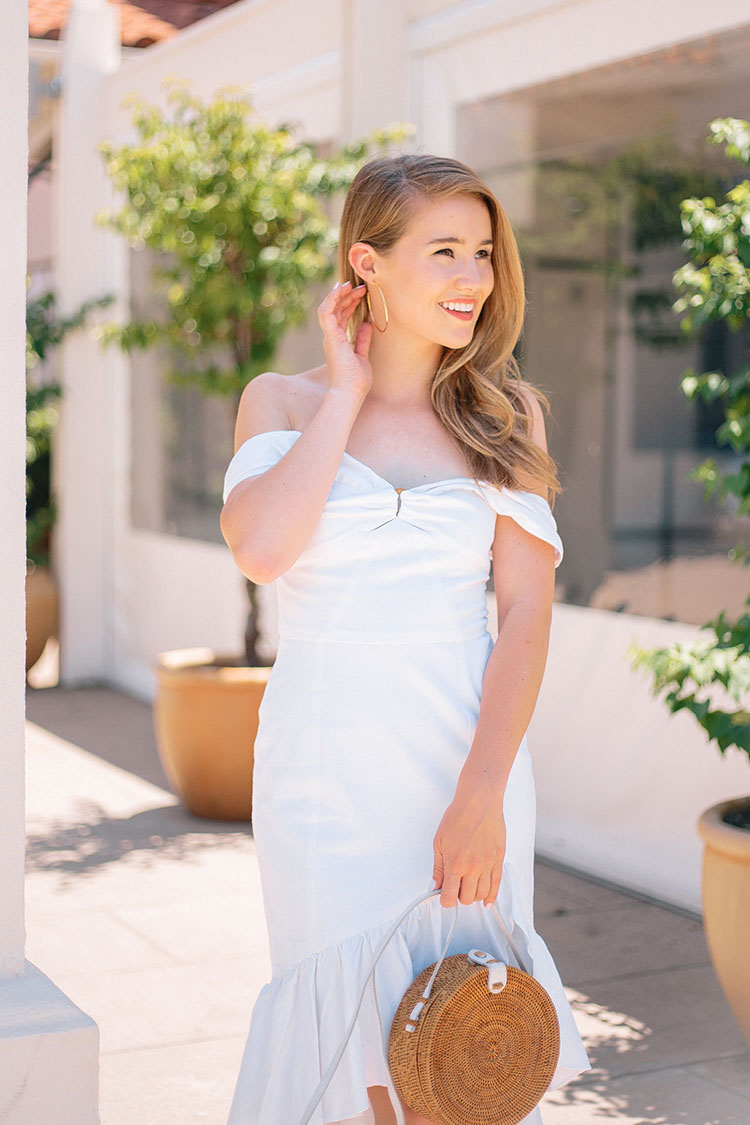 wayf off the shoulder white dress