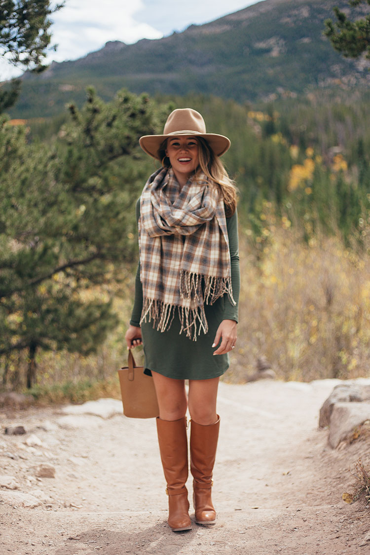 lou and grey long sleeve dress, tory burch riding boots, brixton wool felt hat
