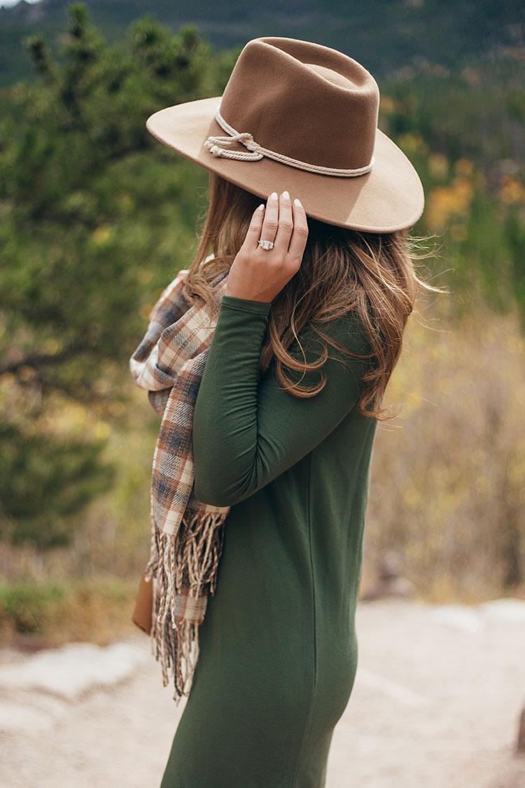 brixton wool felt hat, emerald cut three stone engagement ring