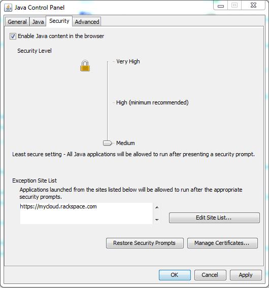 Java Control Panel, 7u51