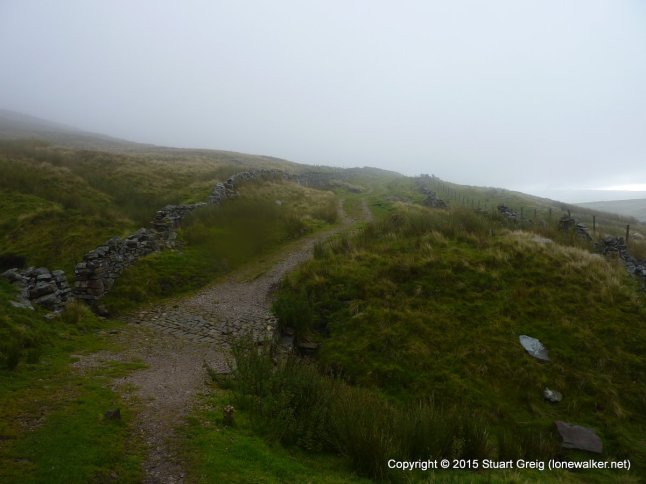 Along the fellside track, easy going and good views if the mist clears
