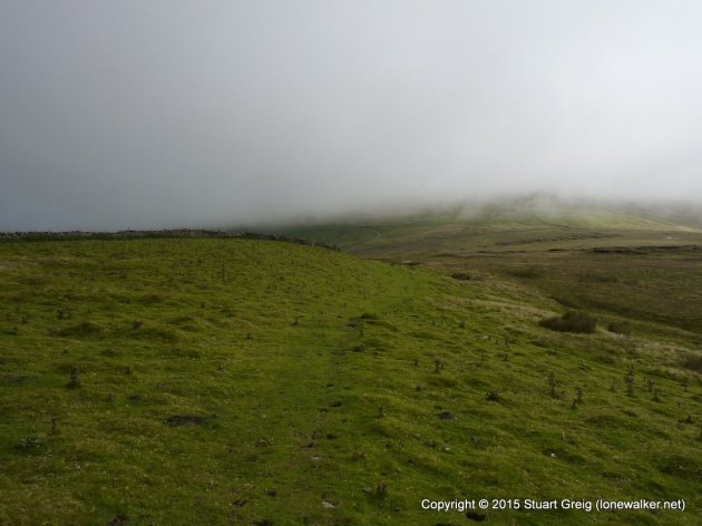 Looking back to Great Knoutberry, head in clouds