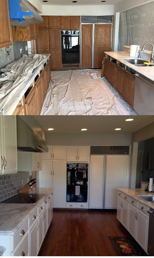 Spray Painting Kitchen Cabinets  Refinishing Kitchen Cabinets
