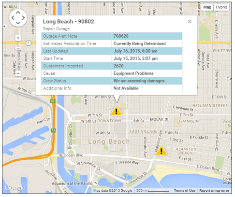 SCE power outage map long beach
