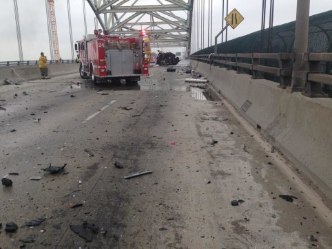 WRONG-WAY CAR CRASH SHUTS DOWN LONG BEACH BRIDGE