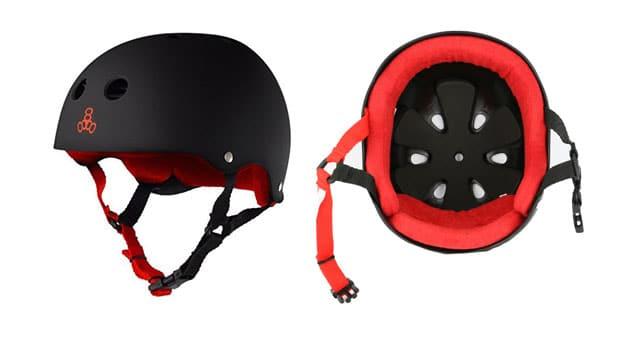 Triple Eight Helmet with Sweatsaver Liner, Black Rubber/Red, Medium