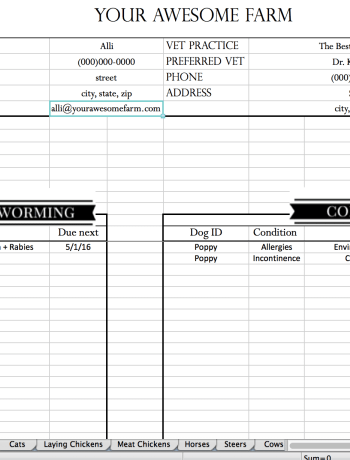 View of a whole section on the animal records spreadsheet.