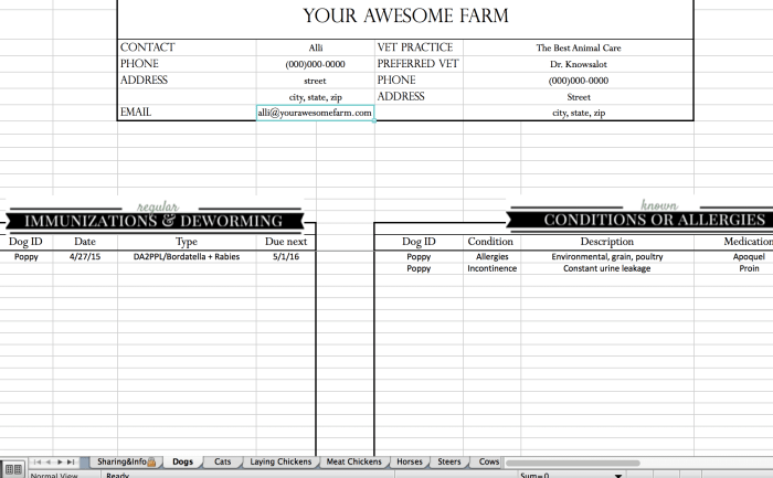 animal records spreadsheet