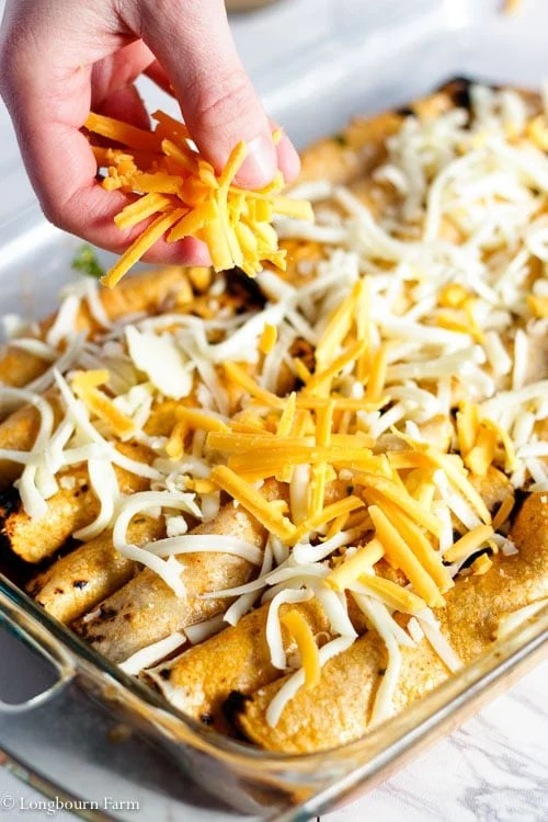 Sprinkling cheese onto a pan of beef enchiladas.