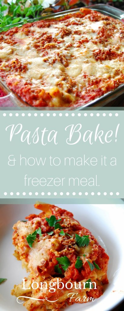 Pasta bake recipe plus all the details on how you can turn it into a freezer meal. Also get a little formula for turning any leftover pasta into a bake!