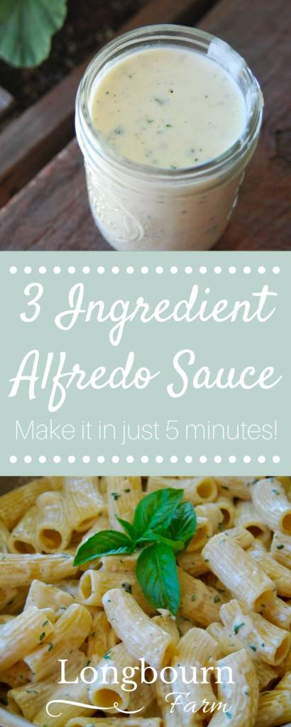 Never buy Alfredo sauce again! This 3 ingredient Alfredo Sauce takes 5 minutes to put together and is so delicious. It's the quickest pasta sauce to make!