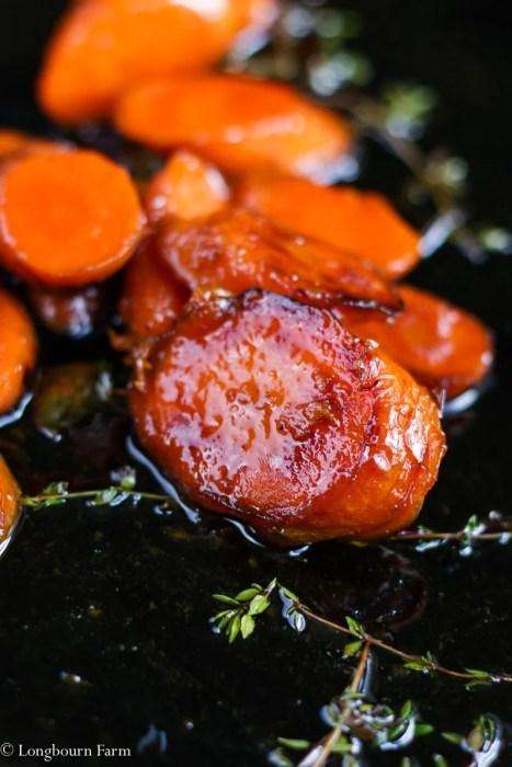 Close-up of a honey glazed carrot slice.