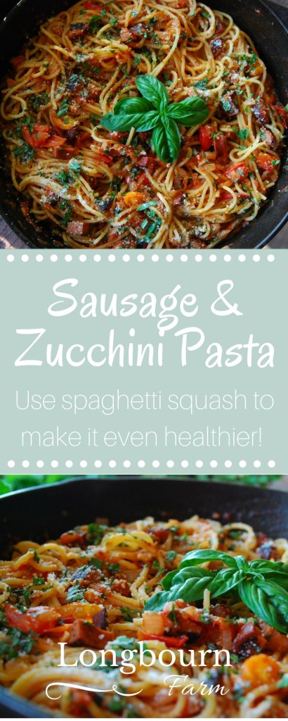 Sausage and Zucchini Pasta is a quick and easy dish that is packed full of fresh flavor. Substitute the pasta for spaghetti squash to make it even healthier!