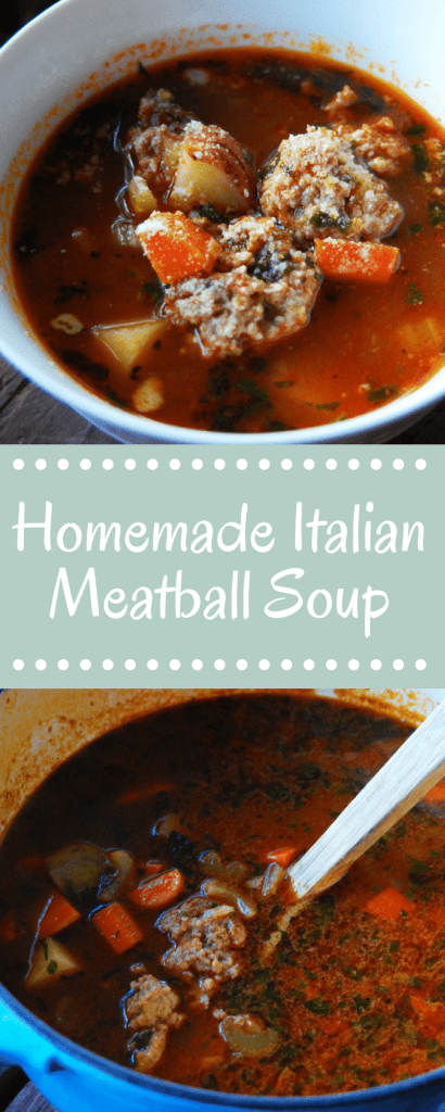 Italian Meatball Soup made with homemade meatballs is a family favorite. A hearty broth with vegetables makes it a satisfying meal.