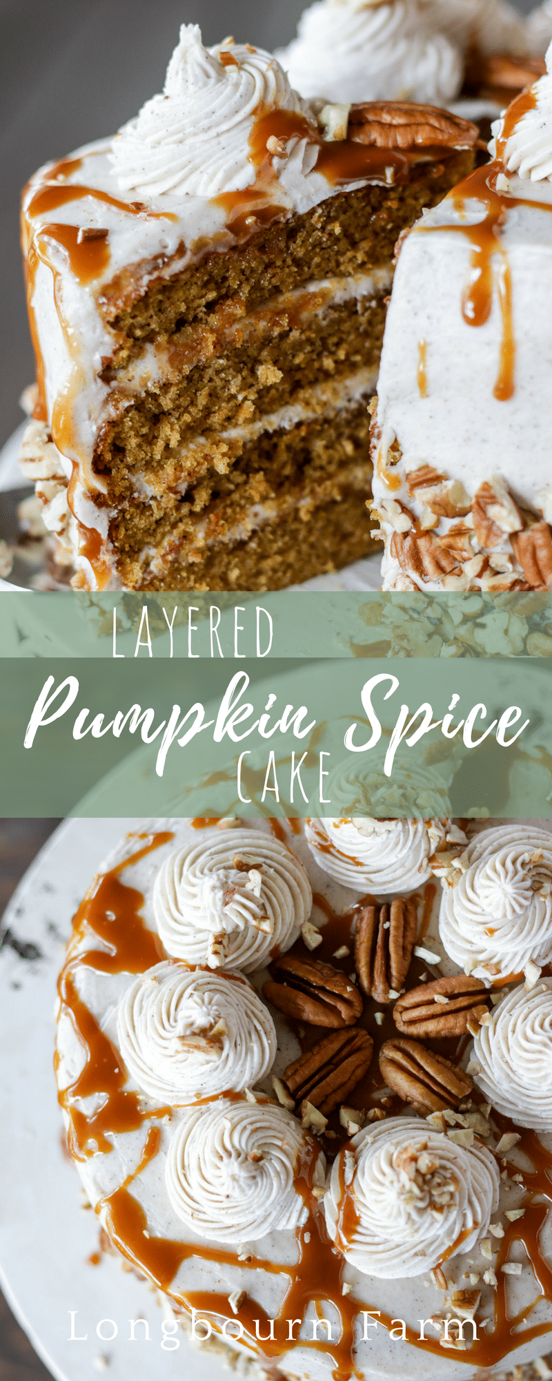This layered pumpkin spice cake is not only a show-stopper, it is super easy to make! Moist, delicious and bursting with pumpkin and pumpkin spice flavor!